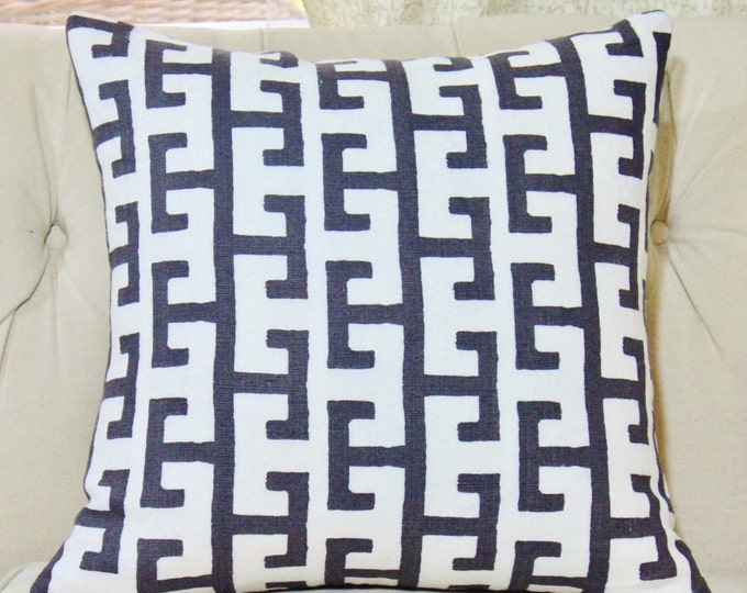 Sale 35.00 Black & Off White Greek Key - Black Linen Designer Geometric Throw Pillow - Jim Thompson - Modern Neutral Pillow - Motif Pillow