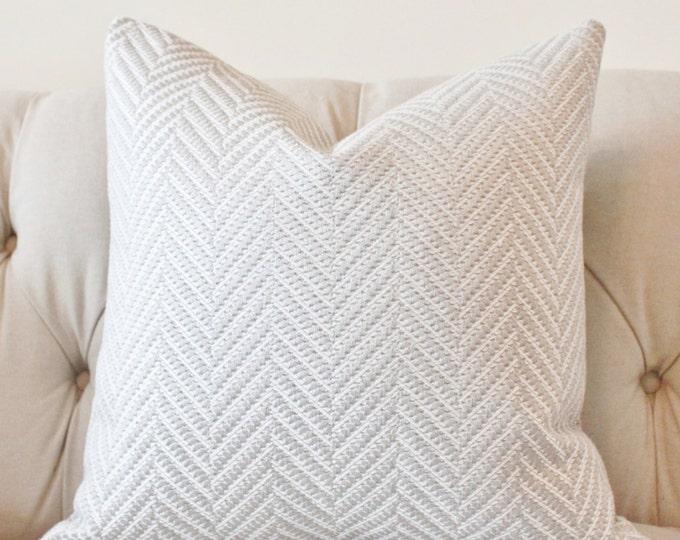 Light Gray and White Pillow - Silver Grey Woven Zig Zag Chevron Pillow - Designer Grey Pillow - Motif Pillow