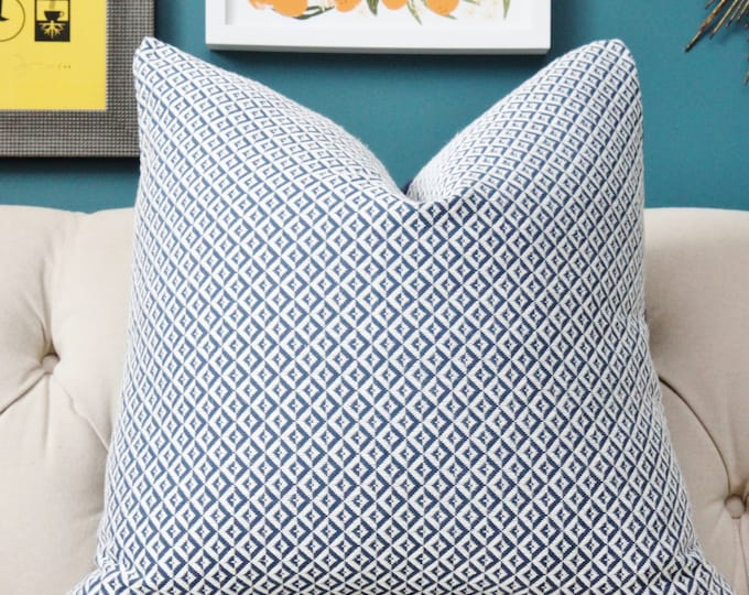 Reserved for Kyle - Two Double Sided 24 Schumacher Blue and White Geometric Woven Diamond Pillow Cover with Samuel & Sons blue piping