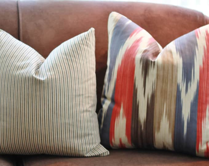 """SALE 35.00 18"""" or 20"""" - Ikat Pillow- Blue Brown Tan & Red Pillow Cover - Geometric Throw Pillow - Lee Jofa Pillow - Southwest Home Decor"""