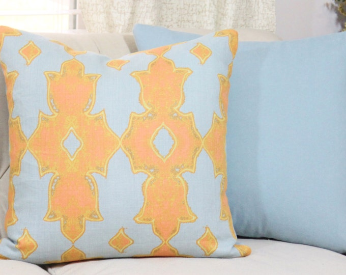 Sale - 35.00  Moroccan Blue Pillow Cover - Orange Coral Medallion - Moroccan Geometric - Jim Thompson - Linen Graphic Blue