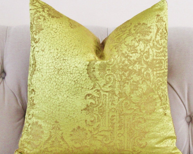 Citrine Gold Brocade Pillow Cover -Designer Yellow & Gold Pillow Cover -Spun Gold Pillow - Lace Embroidered Pillow Cover - Rubelli - Donghia