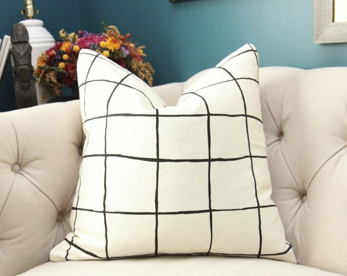 Kelly Wearstler Modern Neutral Pillow Cover- Ivory and Black Geometric Pillow Cover -Stripe Linen Throw - Check Plaid - Lee Jofa