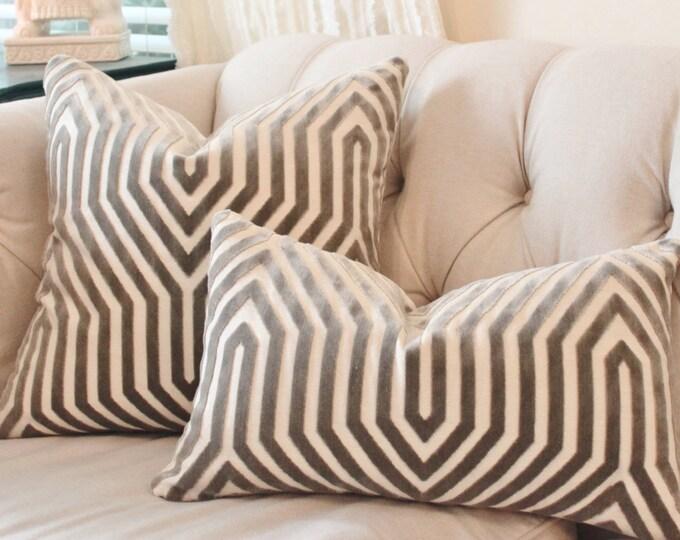 Designer Geometric Pillow - Mary McDonald Gray Pillow Cover - Grey Pillow - Vanderbilt Velvet Throw Pillow - Schumacher - Designer Pillow