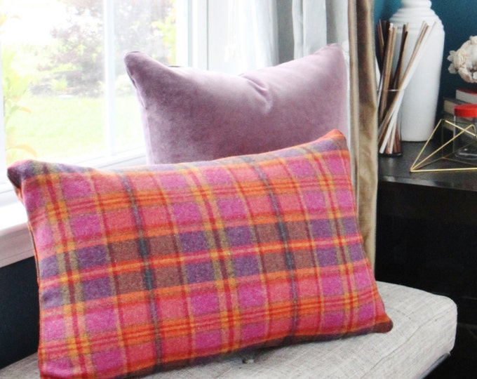 Raspberry Purple Burgundy and Orange Wool Blend Tartan Plaid Pillow Cover - Bright Plaid Pillow Cover  - Pink Pillow Cover - Motif Pillows