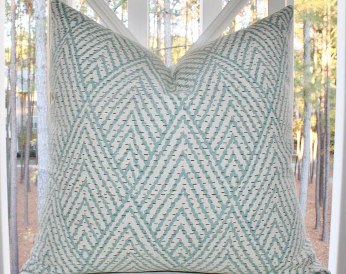 Sale 35.00 Blue Aqua Gray Ivory Geometric Pillow Cover -Throw Pillow - chevron - zig zag