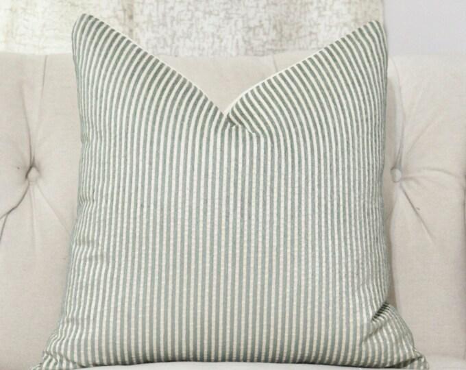 SALE - 18 x 18 or 20 x 20 Gray & Creme Stripped Pillow Cover - Scalamandre Silk Pillow Cover - Motif Pillows - Neutral Pillow