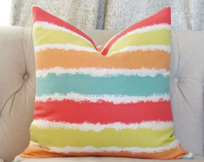 """SALE 35.00 18"""" or 20"""" Outdoor Pillow Cover - Coral Orange Lime & Aqua Striped Pillow - Summer Indoor Outdoor Multi Colored Pillow"""