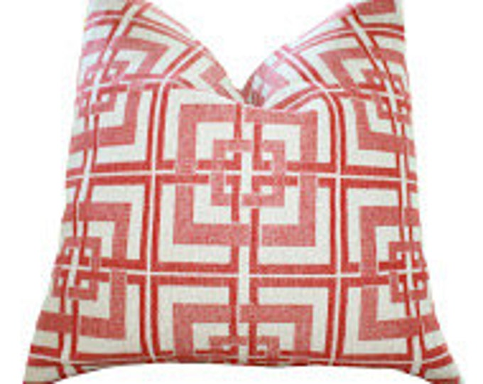 Sale 25.00 - Crimson Red Geometric Pillow Cover - Greek Key - Cranberry Red Throw Pillow Cover