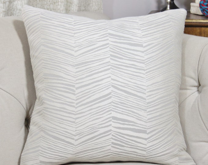 Animal Print Pillow Cover - Robert Allen - Zebra - Off White & Gray Geometric - Hollywood Regency - Graphic Throw- Gray
