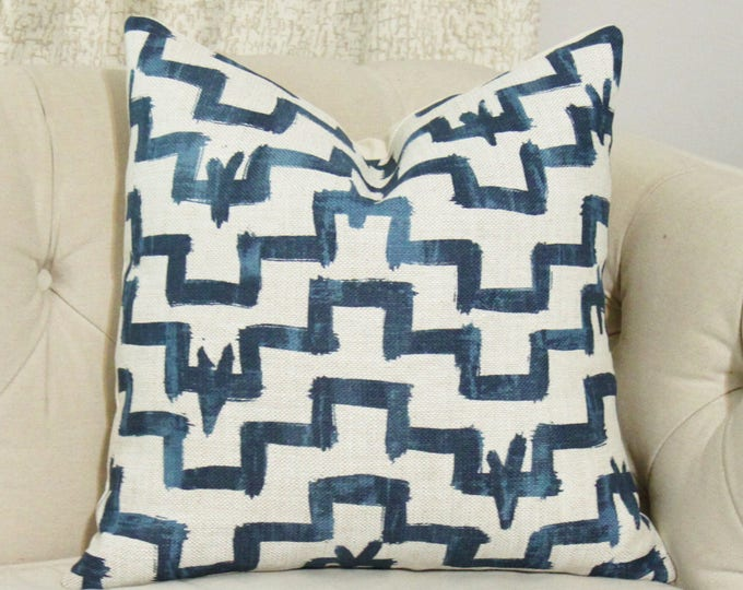 Zak & Fox Designer Pillow Cover- Tulu - Indigo Blue - Geometric Throw - Modern Blue Brush Stroke Pillow - Blue and Gray