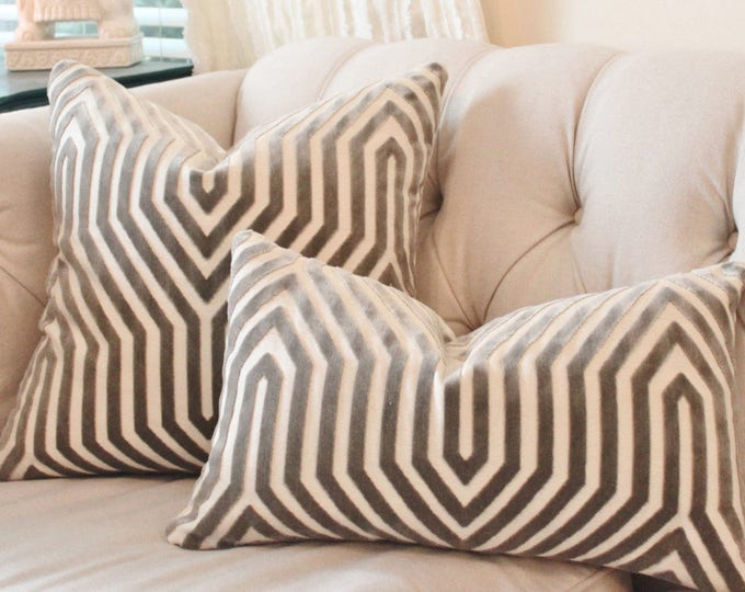 Ready to Ship  Schumacher Mary McDonald Gray Pillow Cover - Grey Vanderbilt Velvet Throw Pillow - Dove - Designer Pillow