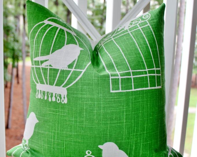 """SALE 35.00 18"""" or 20"""" - Green Bird Pillow - Modern Green Pillow - Bright Green Linen Pillow -Throw Pillow"""