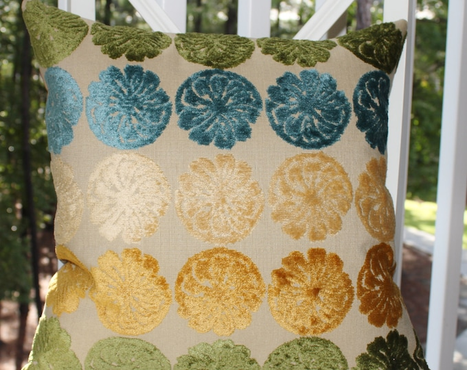"""SALE 35.00 18"""" or 20"""" -  Blue Green Yellow Gold Champagne Velvet Medallion Floral Wheat Pillow - Throw Pillow"""
