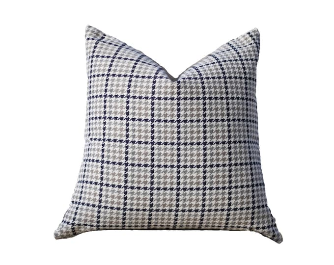 Sale - 35.00 Neutral Pillow Cover- Houndstooth Plaid Pillow Cover -Black Gray Beige Ivory Pillow - Throw Pillow