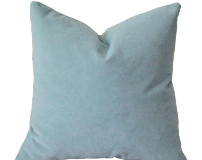 Designer Decorative French Blue Pillow Cover - Cool Blue Velvet Pillow Cover - Pastel Blue Pillow - Throw Pillow - Baby Blue Pillow