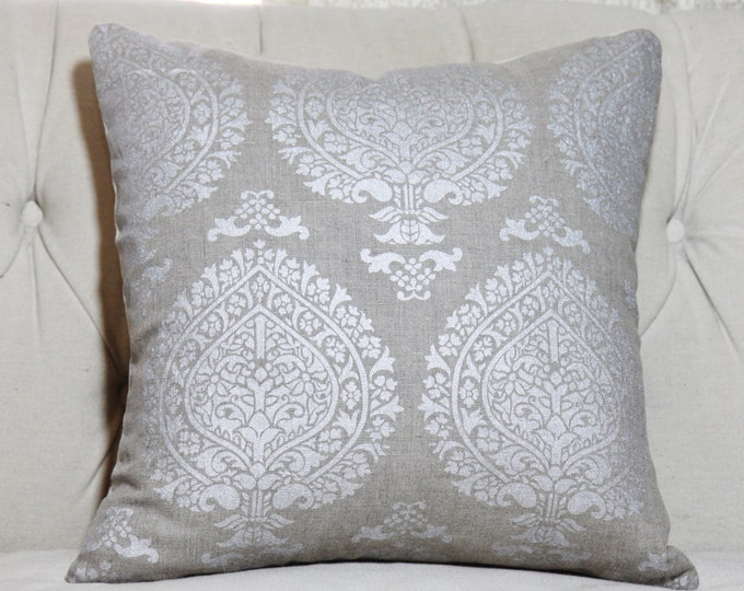 """SALE 35.00 18"""" or 20"""" - Silver Natural Pillow - Linen Medallion Pillow Cover - Medallion Gray Throw Pillow - Paisley Pillow Cover Wheat"""