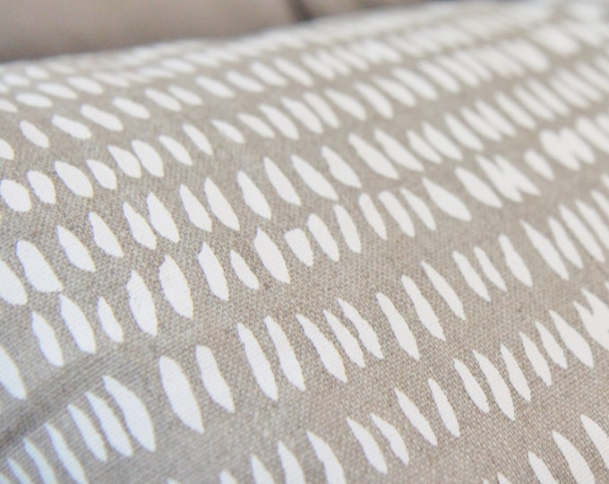 Dashes in White & Natural Pillow Cover - Bohemian Block Print Modern Pillow Cover - Neutral Decor