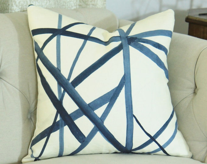 Kelly Wearstler Channels Pillow Cover - Blue and Ivory  - Periwinkle and Oat Pillow - Designer Geometric Pillow Cover