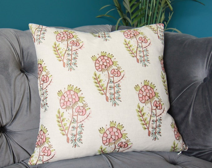 Tulu Textiles Kezban Pillow Cover - Hand blocked floral - Coral Peach Bronze Blue Green Pillow Cover