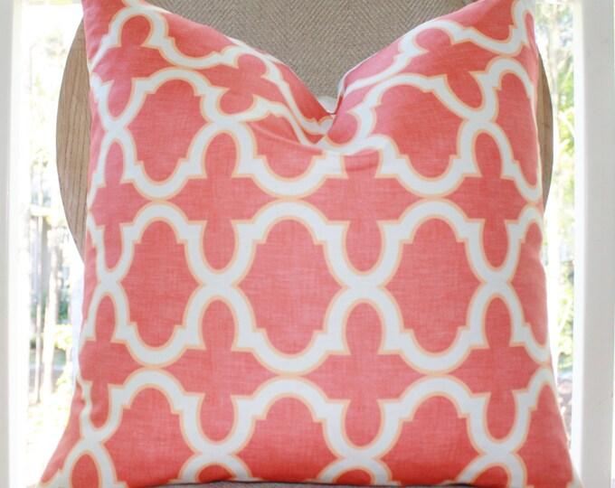 "Sale -35.00 18"" Coral Quatrefoil Pillow Cover-  Moroccan Coral Orange Quatrefoil Geometric Trellis Designer Cover -Decorative Throw Pillow"
