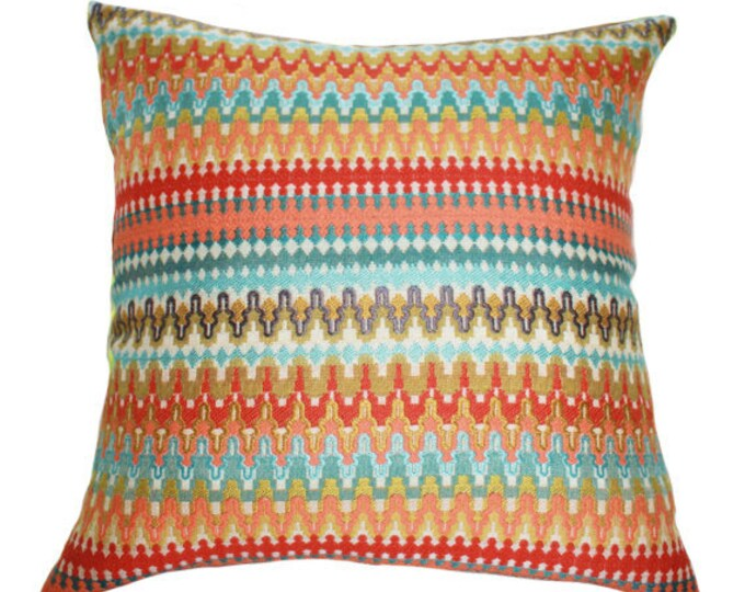 Sale 25.00 - Orange Turquoise Coral Zig Zag Chevron Pillow Cover - Orange Coral Aqua Turquoise Geometric Greek Key Designer Pillow Cover