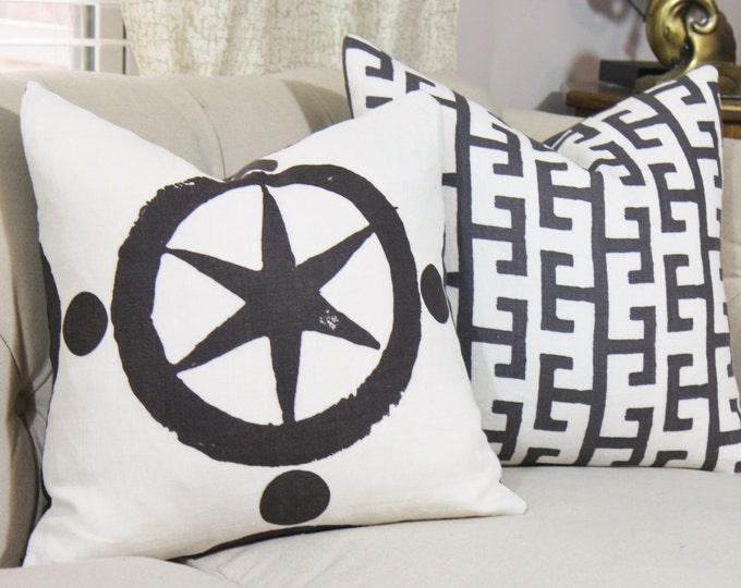 Sale - 35.00 Black & White Designer Geometric Pillow Cover - Star Medallion Pillow Cover - Black Decor - Jim Thompson