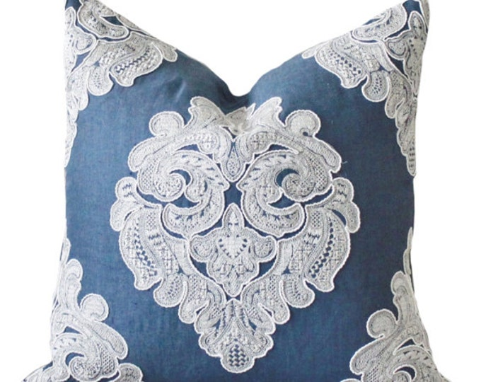 SALE - Indigo Blue Geometric Medallion Pillow Cover - Embroidered Lace Blue Linen Pillow Cover - Dark Blue Throw Pillow