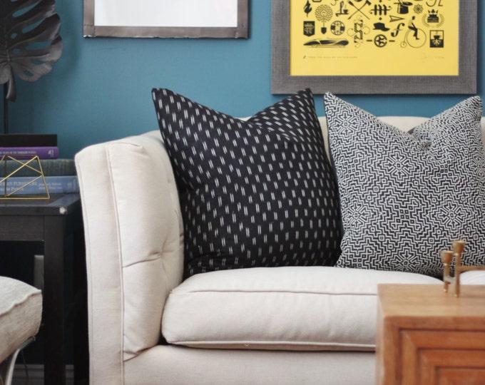 Black Ikat Pillow - Modern Geometric Black & Woven White Pillow Cover - Modern Ikat - Black Decor