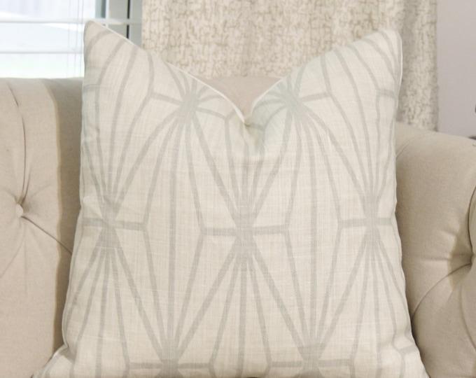 Kelly Wearstler Katana Pillow Cover - Creme and Dove - Light Gray and Off White Pillow - Designer Geometric Pillow Cover - Gray Geometric