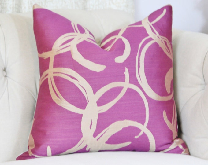 Sale - 35.00 - 18 x 18 Radiant Orchid Pillow Cover- Magenta Purple Champagne Gold Geometric Pillow Cover - Modern Solid Orchid Pillow