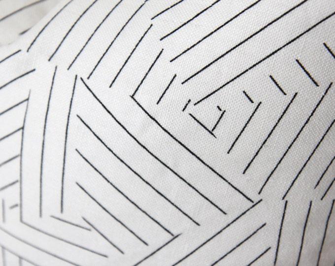 Schumacher Pillow Cover - Back & White Geometric Linen - Deconstructed Stripe Pillow - Miles Redd - Black Throw Pillow - Motif Pillows