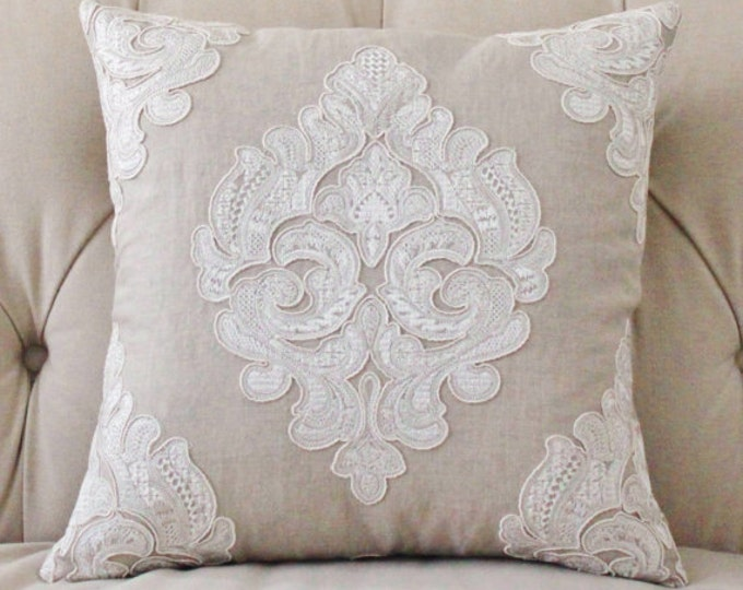 Sale 25.00 - Designer Beige Linen Geometric Medallion Pillow Cover - Embroidered Lace Neutral Linen Pillow Cover - Ivory Greige Throw Pillow