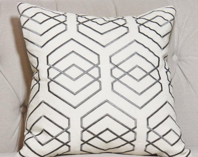 Sale 16 x 16 Gray Ivory Geometric Pillow Cover - Graphic Gray Pillow Cover -Lee Jofa - Throw Pillow - Diamond Grey Pillow Cover - Cushion