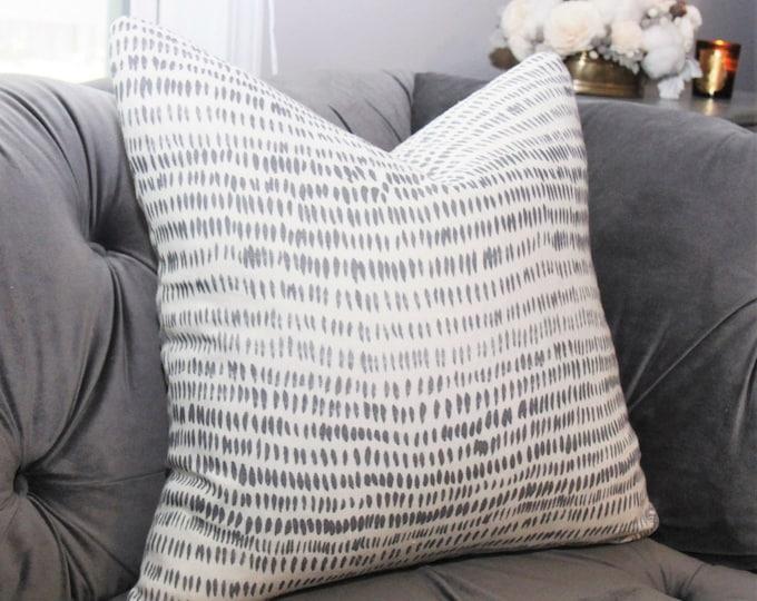 Dashes Stone Gray Natural Pillow Cover - Bohemian Pillow - Block Print Modern Pillow Cover - Neutral Decor