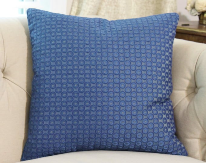 SALE 35.00 17 x 17 -  Blue Pillow Cover - Blue Embroidered Dot Pillow Cover - Throw Pillow - Dark Blue Pillow - Decorative Pillow Cover