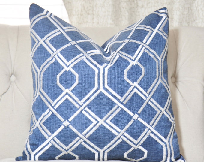 "SALE 35.00 18"" or 20"" - Blue Geometric Designer Pillow - Blue Modern - Dark Blue Ivory Lattice Pillow - Blue Cushion"