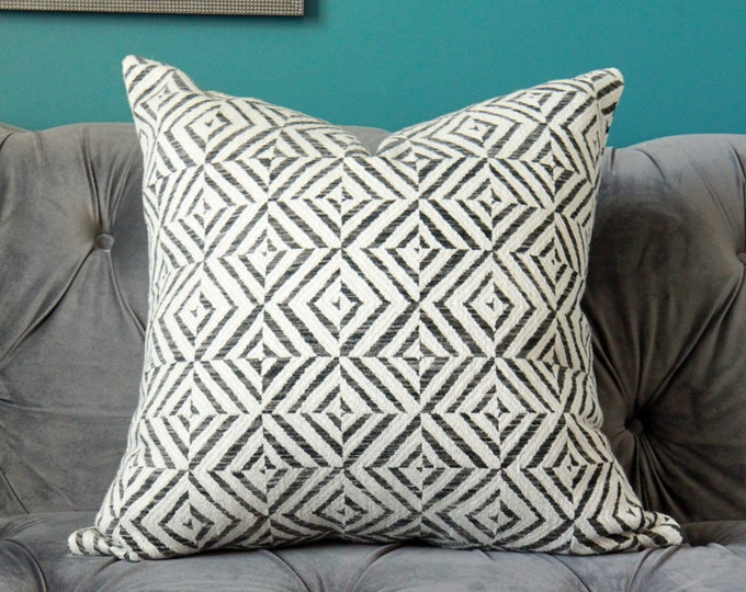 Schumacher Jubilee in Charcoal Pillow Cover  - Geometric - Graphic Pillow Cover