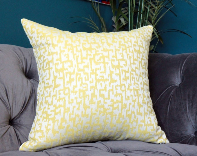 Designer Yellow Pillow Cover - Anna French Slavisa Pillow Cover - Yellow and Off White