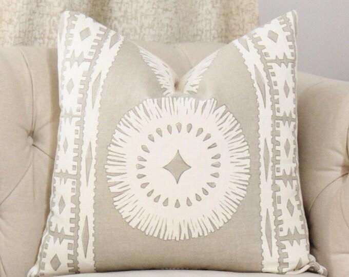 Schumacher Pillow Cover - BORA BORA Pillow Cover - Greige Mary McDonald Pillow - Throw Pillow - Sea Oyster Geometric Pillow - Neutral Pillow