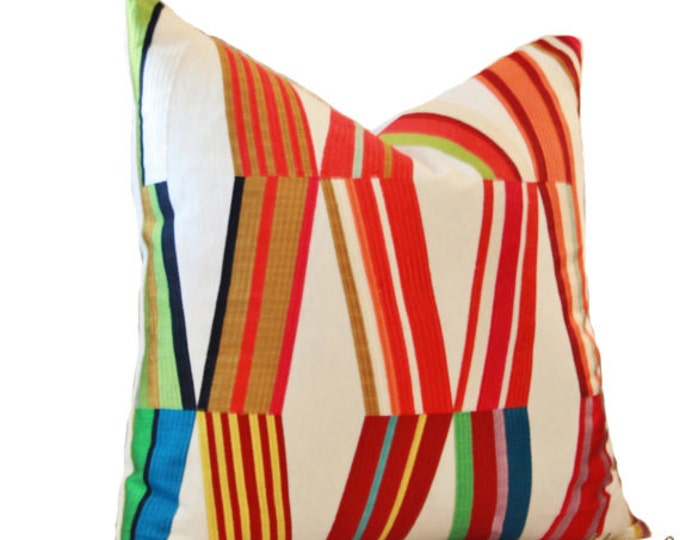 Back ordered until mid December - Pierre Frey - Woven - Contemporary Modern Multi Colored Pillow Cover - Blue Green Red Purple Orange Pillow