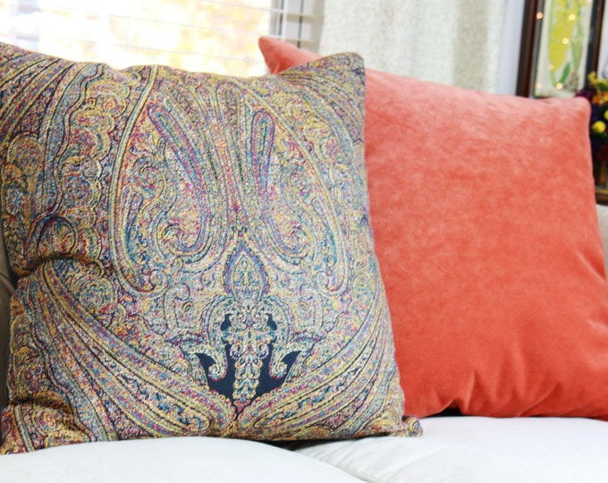 "SALE 35.00 18"" or 20"" - Purple Gold Teal Navy  Paisley -  Multi Colored Pillow Cover - Moroccan Designer Pillow - Throw Pillow - Jewel Toned"