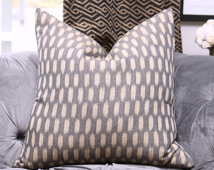 Off Black & Light Gold Ikat Pillow Cover - Dark Gray and Light Gold Woven Moroccan Pillow Cover - Designer Gray Natural Southwest Home Decor