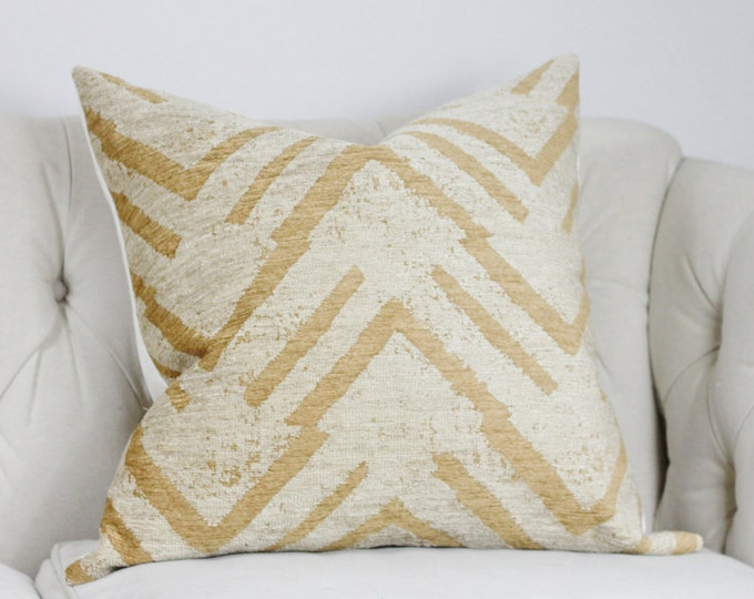Tan and Gray Geometric Pillow - Neutral Zig Zag - Throw Pillow - Chenille Pillow - Large Scale Graphic Pillow Cover