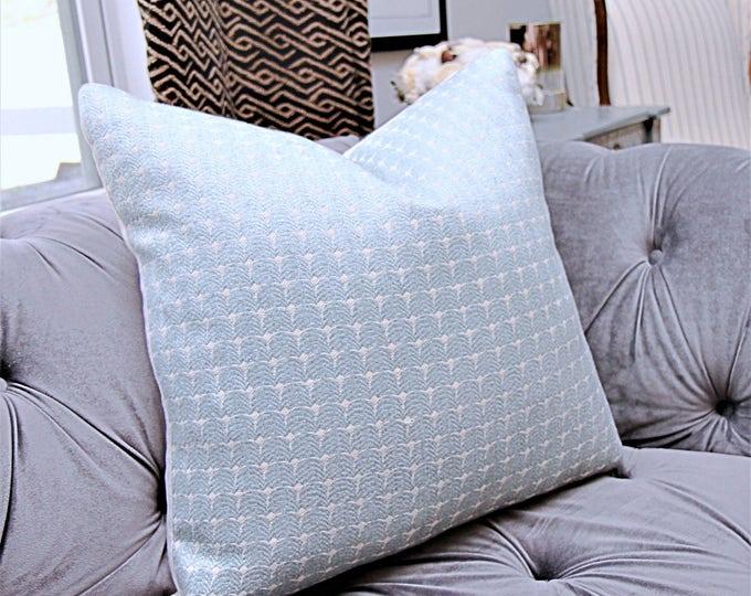 Sale 35.00 Cowtan & Tout Pillow Cover- Light Aqua Blue Woven Pillow Cover - Light Blue and Beige Pillow - Sea Blue Pillow Cover