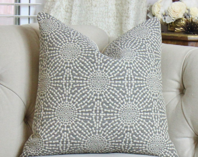 Gray Pillow - Gray and Off White Pillow Cover - Starburst Pillow - Designer Geometric Pillow Cover -Neutral Pillow - Gray Home Decor