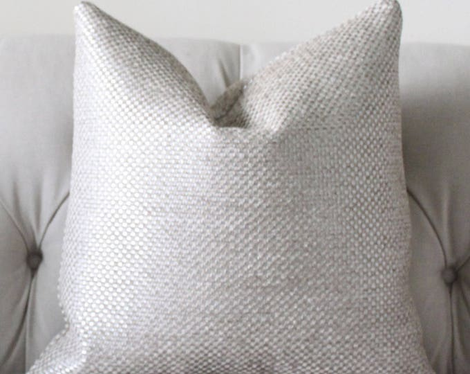 Ready to Ship 12 x 20 Single Sided Designer Metallic Pillow Cover - Silver Neutral Graphic Pillow Cover - Ivory Grey  Pillow Cover