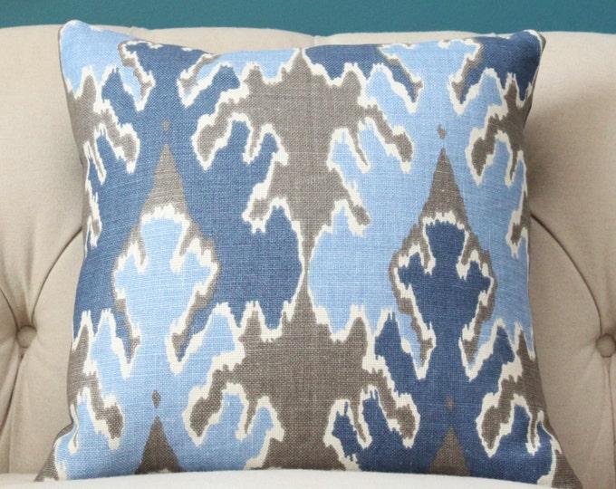 Kelly Wearstler Ikat - Modern Blue Graphic Pillow Cover - Lee Jofa Bengal Bazaar Gray Indigo Pillow - Indigo, Light Blue and Grey Geometric