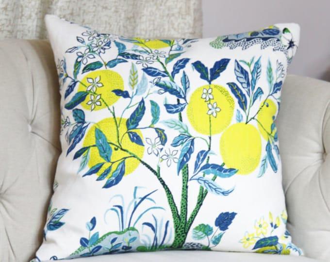 Schumacher Designer Pillow - Citrus Garden Floral in Pool Pillow Cover - Blue & Yellow Pillow - Botanical Throw Pillow - Floral Pillow