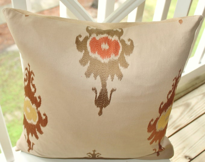 Sale - 35.00 Woven Ikat Pillow Cover - Light Brown Ikat Pillow Cover - Copper Gold Orange Coral Rust Ikat
